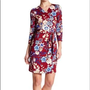 Charles Henry Berry Floral Wrap Dress